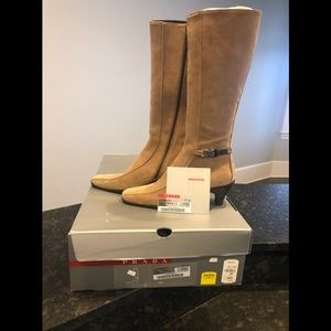 *NEW* PRADA Camel Suede Tall Boots with Zipper